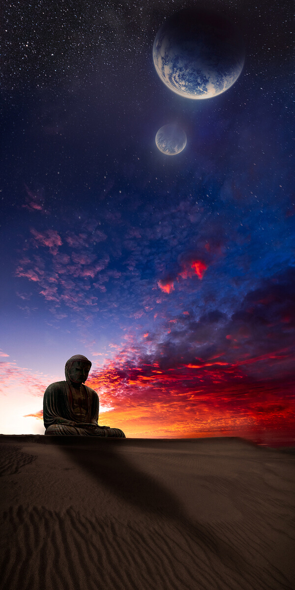 A Buddha statue surrounded by planets