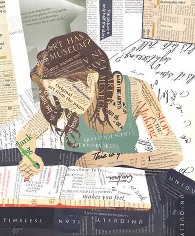 Woman writing made as a collage