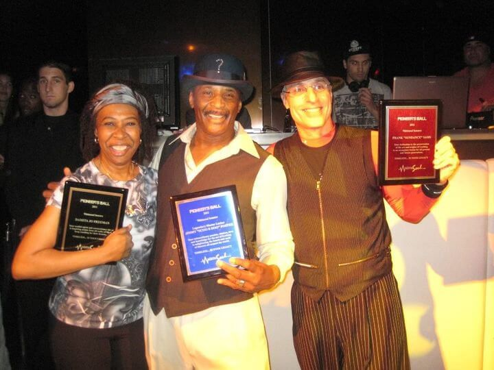 Damita Jo, Scoo B Doo and Sundance receiving awards at the Pioneers Ball